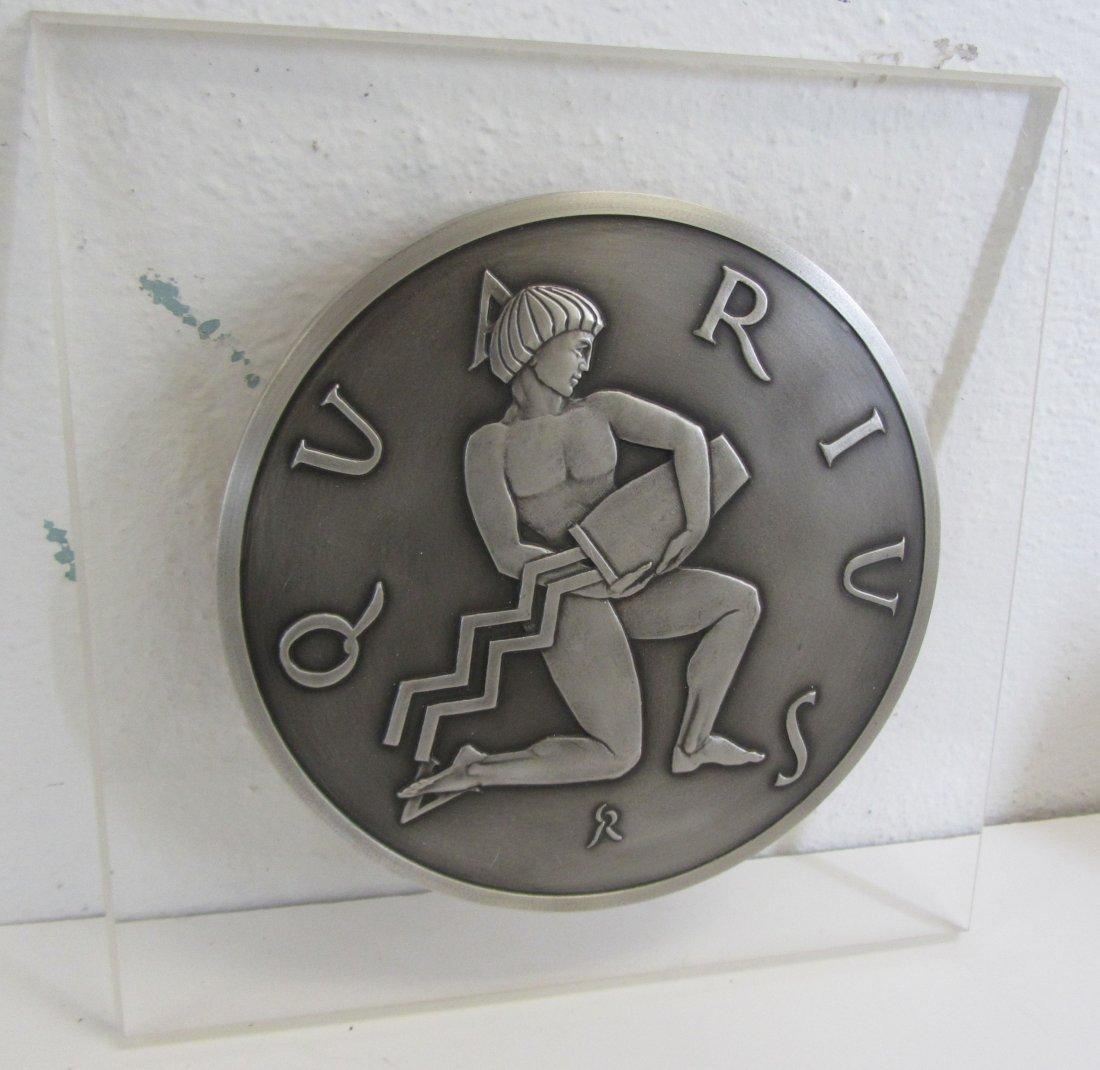 Rare .999 Silver Zodiac Aquarius plaque