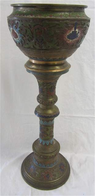 20th C. Japanese Champleve planter and pedestal