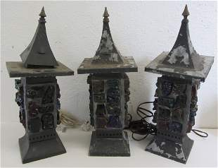3 C1900 leaded chunk glass gothic lamps