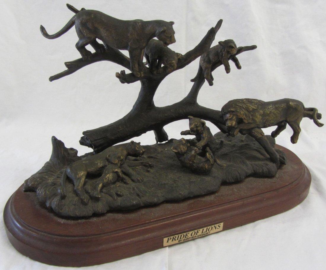 "Gunther Granget signed bronze ""Pride of Lions"""