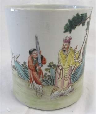20th C. Chinese porcelain brush pot