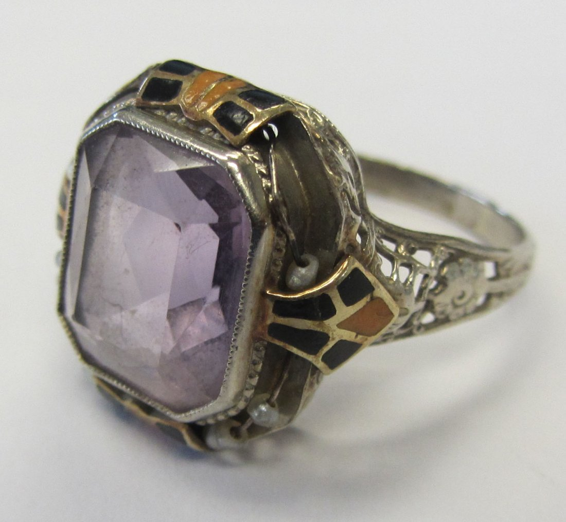Unusual Antique Art Deco Amethyst and Enamel ring