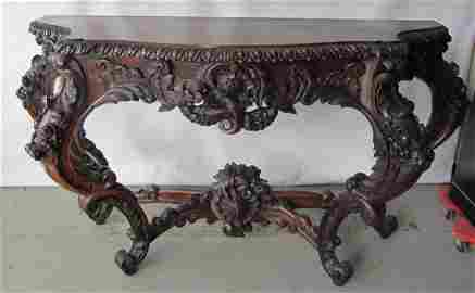 C1860 American rococo rosewood pier table