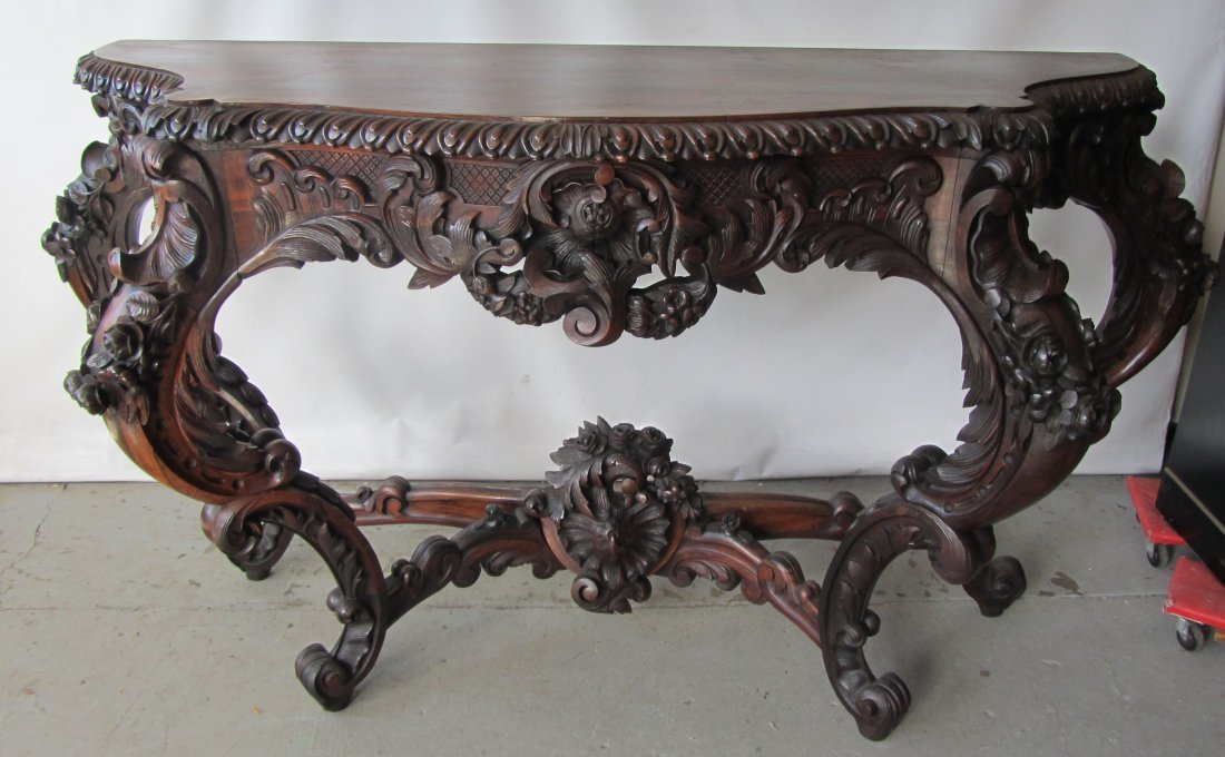 C1860 American rococo rosewood pier table