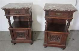 Pr. Eastlake Victorian marble top nightstands