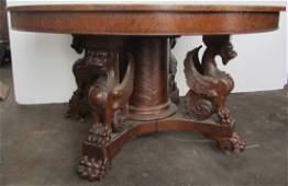 C1890 R.J. Horner winged griffin diningroom table