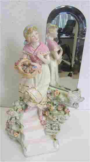 C1900 Dresden porcelain statue with mirror