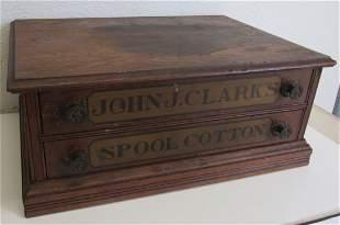 19th C. Oak 2 drawer Clarks Spool Cabinet