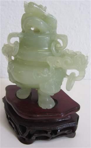 C1900 Jade detail carved urn