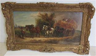 19th C. Signed oil on canvas of horses