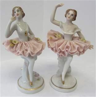 20th C. Set of 2 porcelain ballerinas