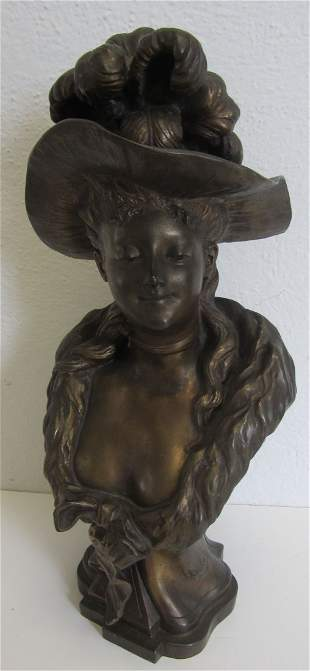 19th C. White metal bust of woman signed