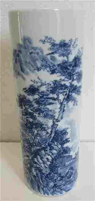 Signed 19th C. Chinese blue and white vase