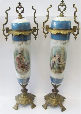 Pr. 19th C. Sevres porcelain urns with bronze work