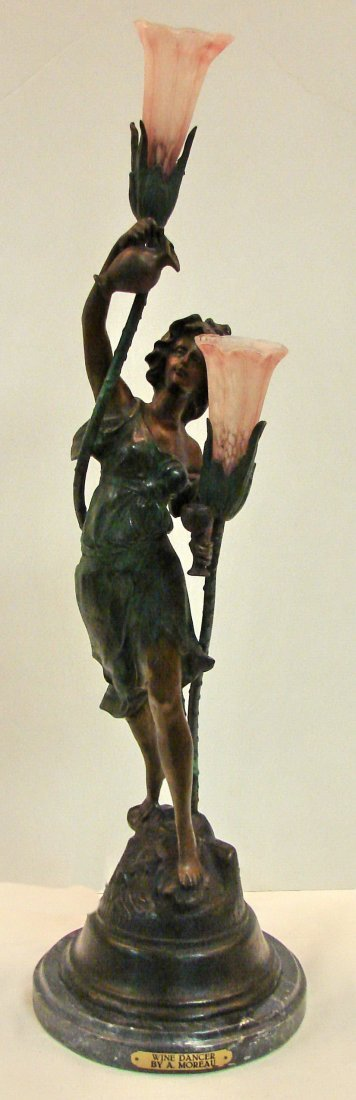 Large Cold painted bronze newel post lamp