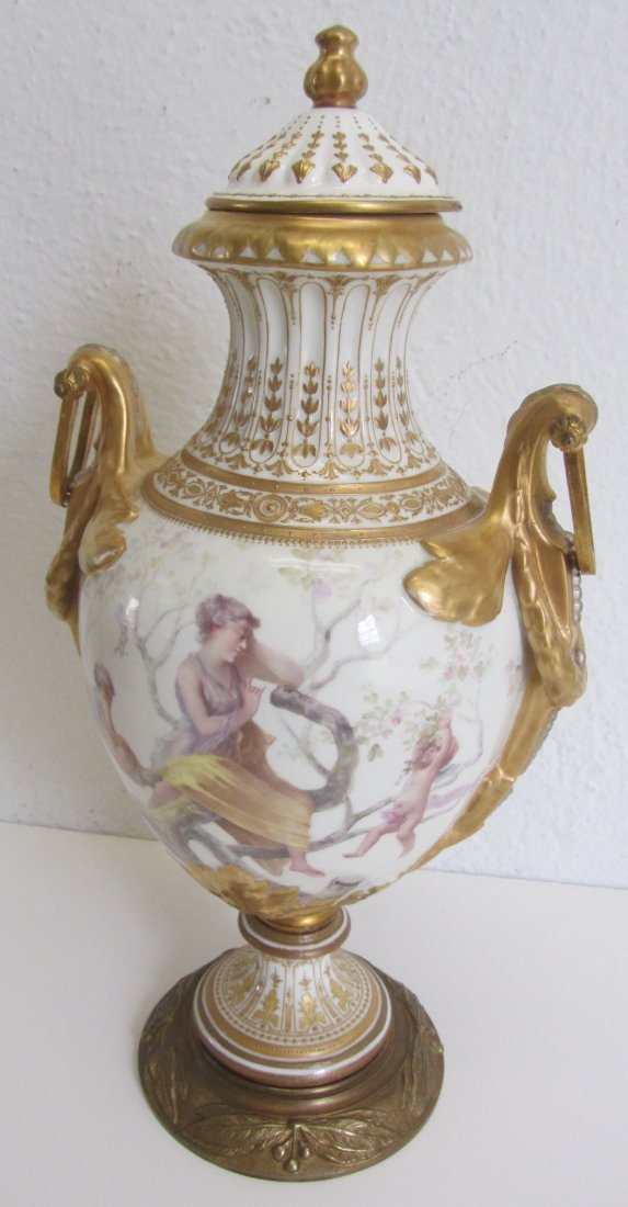 Ea. 19th C. Signed Meissen handpainted covered urn