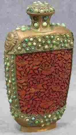 19th C. Copper and cinnabar decorated snuff bottle