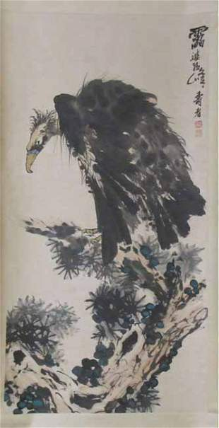 Chinese watercolor scroll painting of buzzard