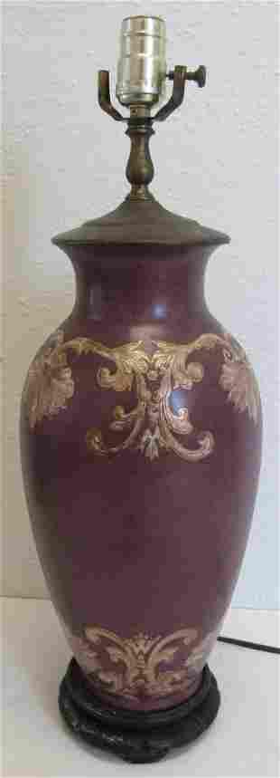 Pr. Ea. 20th C. porcelain vases with teak bases