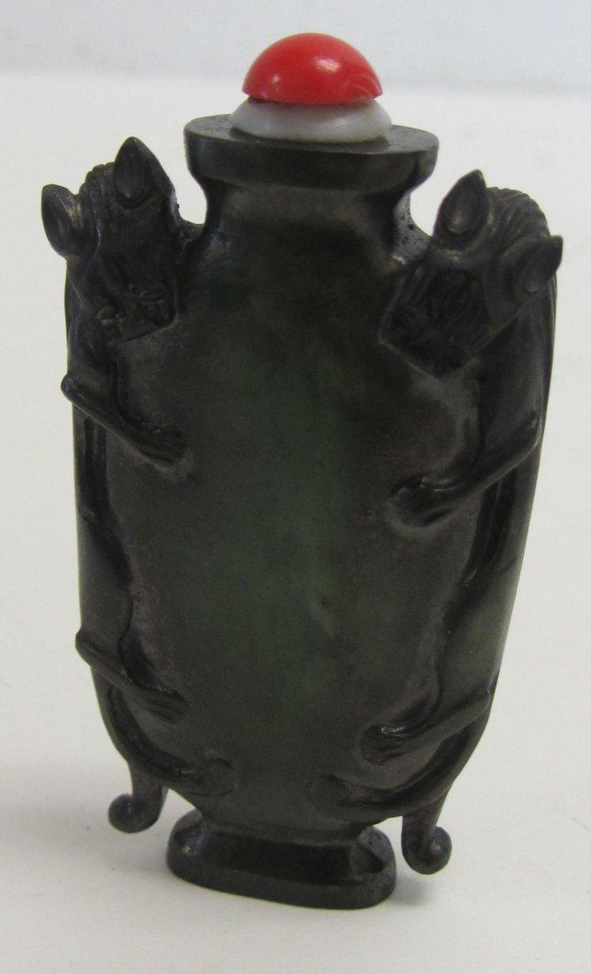 Rare 19th C. Figural spinach jade snuff bottle