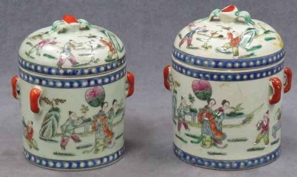 Pr. Ea. 19th C. Chinese lidded jars signed