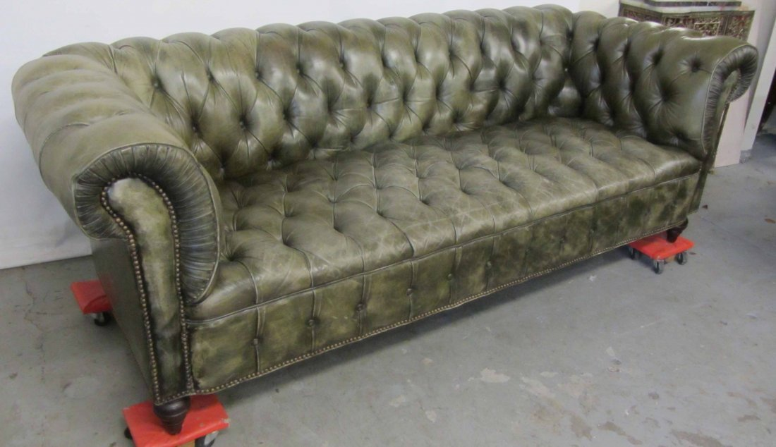 20th C. Ralph Lauren leather chesterfield