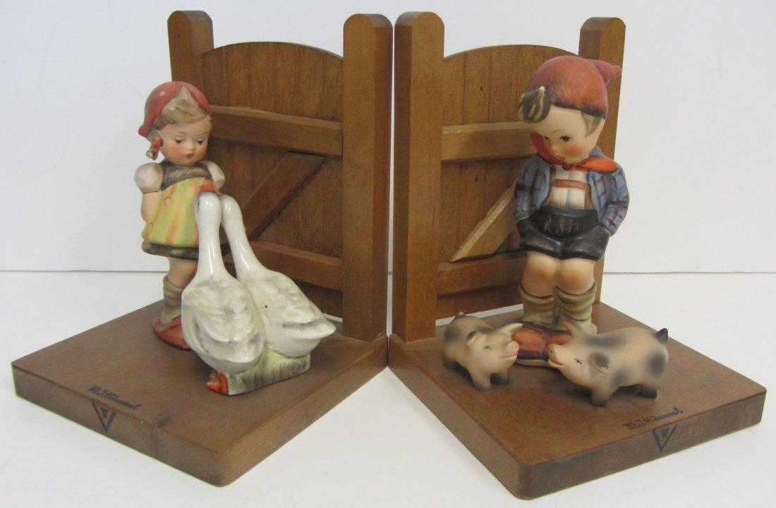 """Hummel Bookends """"Farm Boy, Goose Girl"""""""