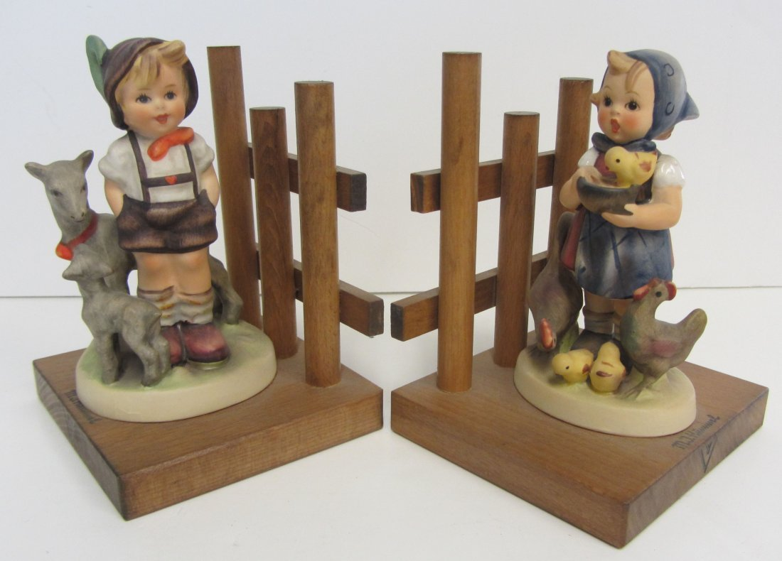 "Hummel Bookends ""Little Goat Herder, Feeding Time"""