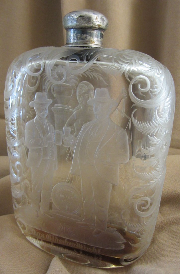 C1904 Worlds Fair Etched glass flask