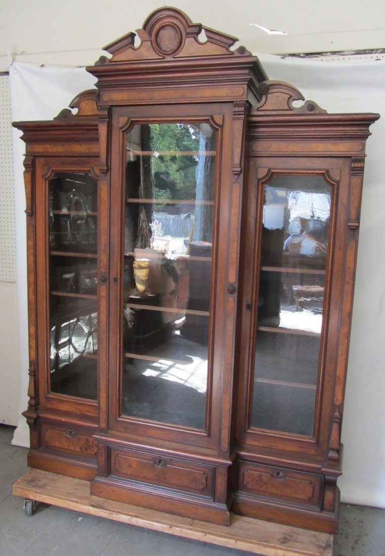 Victorian burled walnut 3 door bookcase