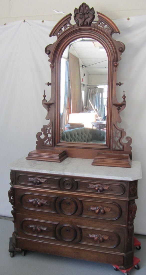 C1860 Walnut Victorian marble top dresser