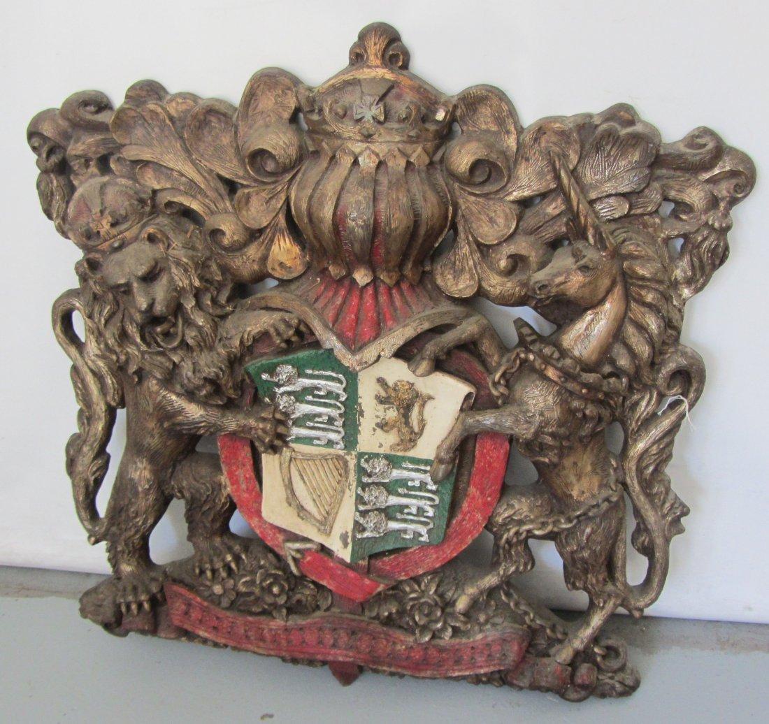 Monumental size crest with lion, unicorn