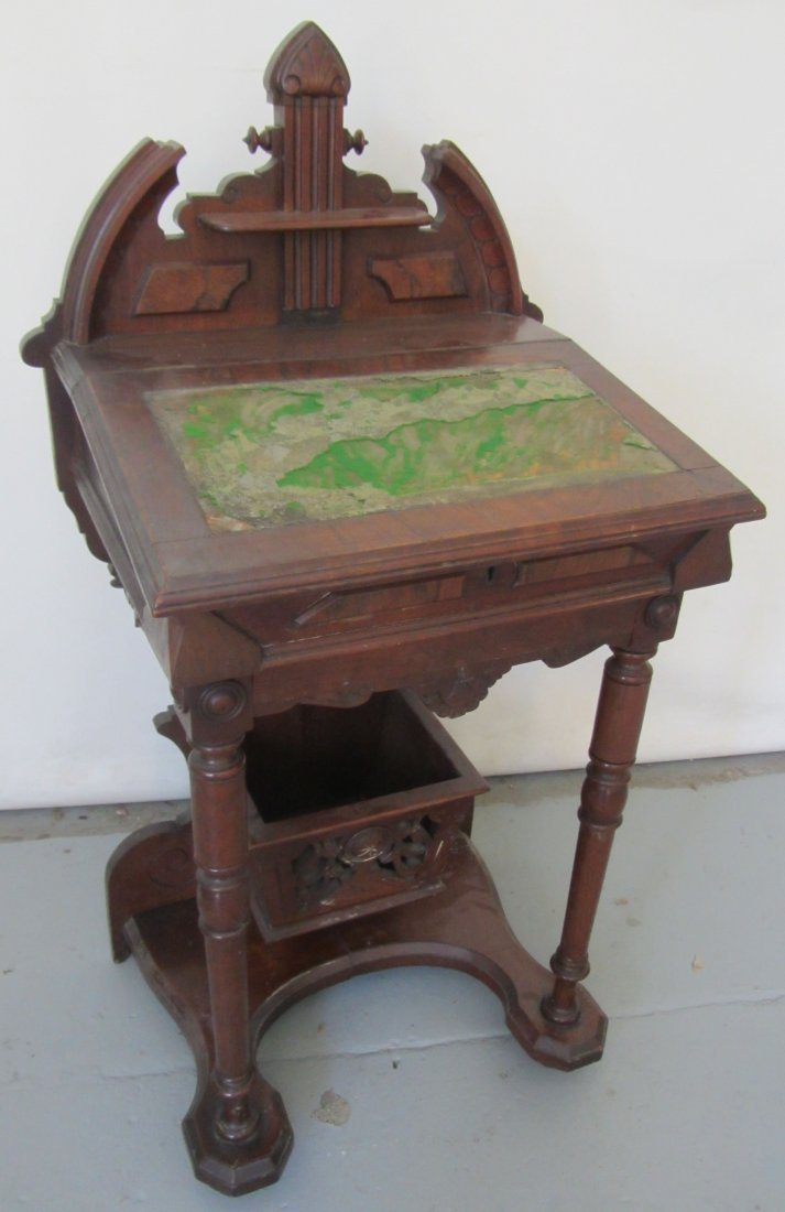 Burled Walnut American Victorian slant front desk