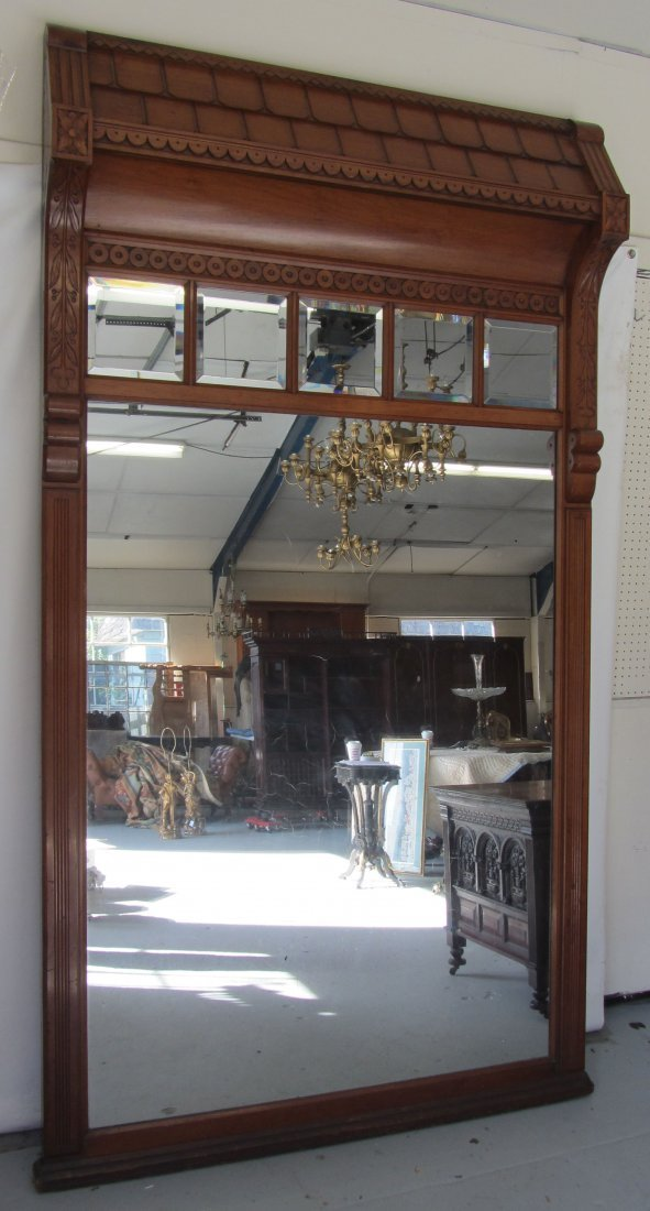 Signed Allen Brothers bevel glass pier mirror