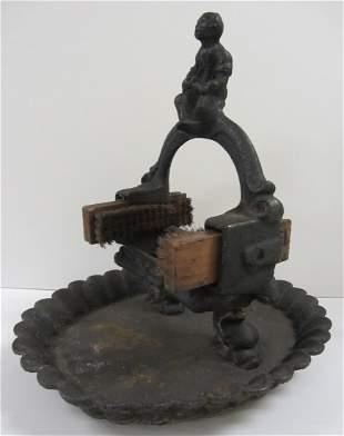 Rare 19th C. Cast Iron figural boot scraper