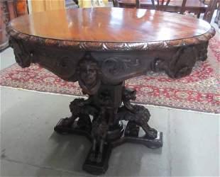C1890 Renaissance Victorian walnut center table