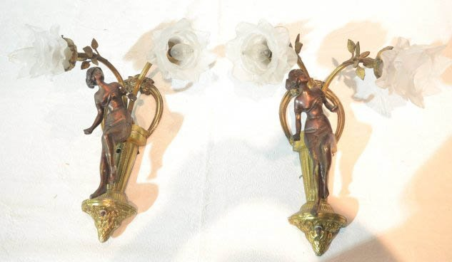 Pr. French cast bronze wall sconces of ladies