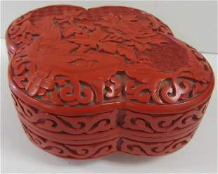 20th C. Chinese carved Cinnabar bowl