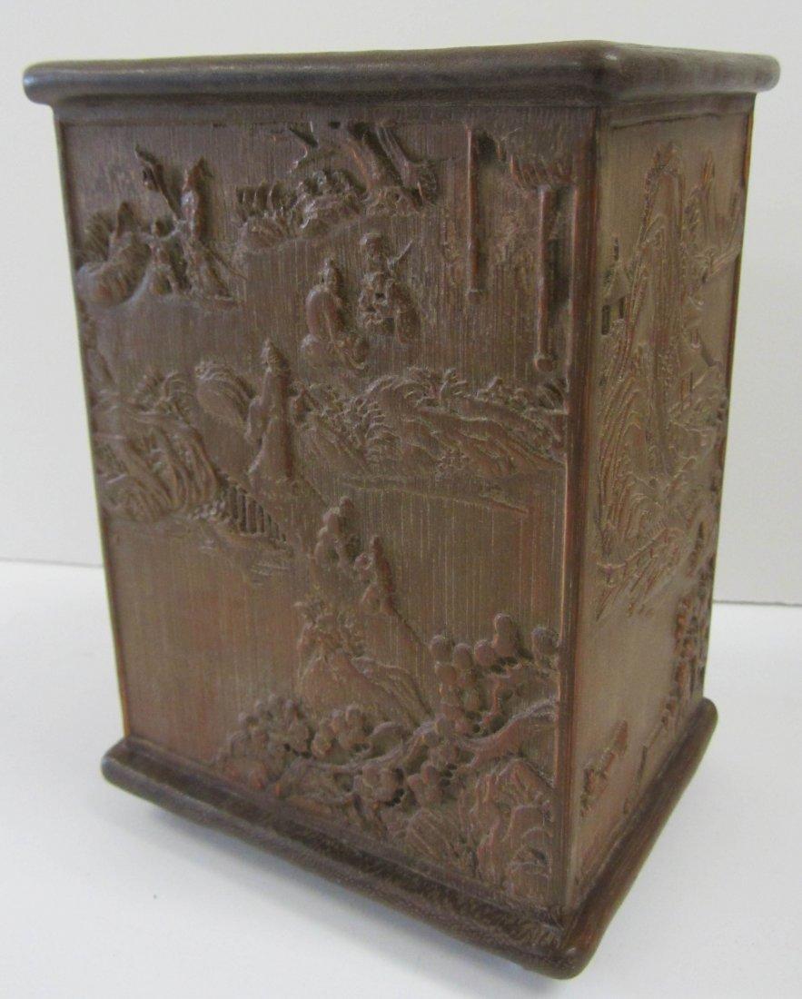 19th C. Detail carved Chinese hardwood brush pot
