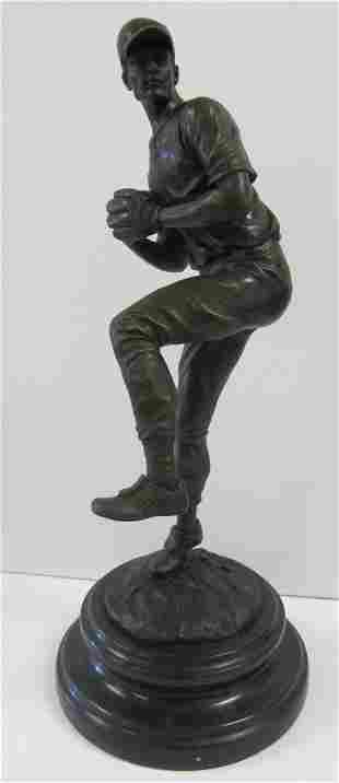 20th C. Bronze of baseball player on marble base