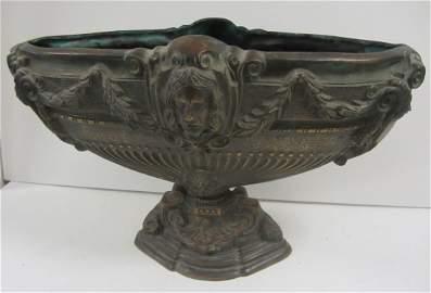 Large C1900 Bronze figural center bowl