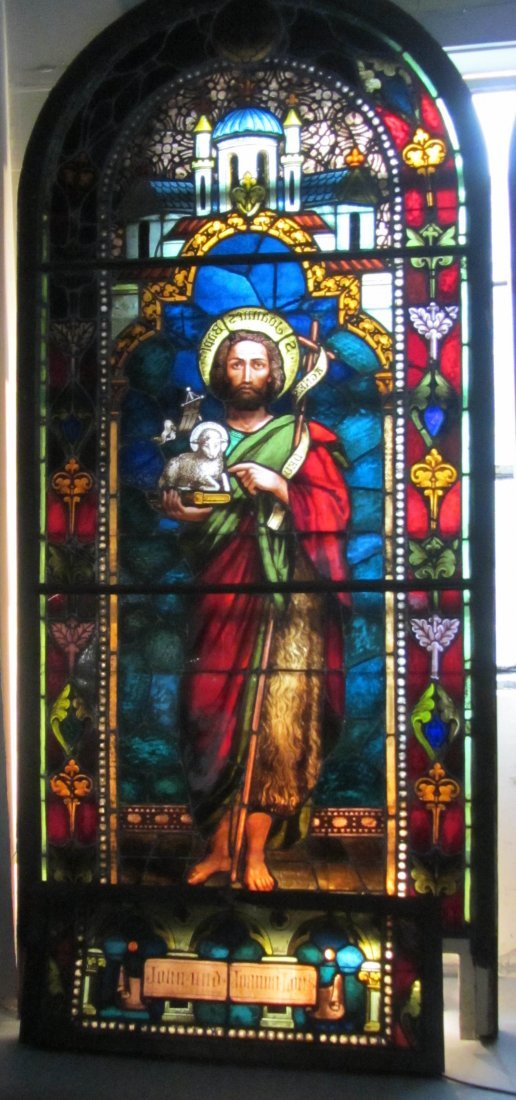3 of 6 19th C. Leaded, stained and painted window