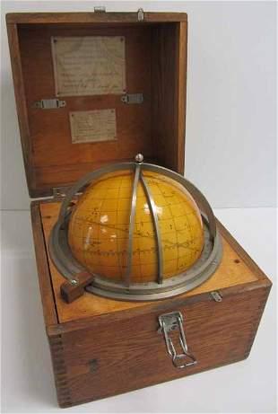 Mid 20th C. Russian globe in Quartersawn oak box
