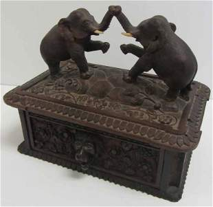Antique Black Forest rosewood carved jewelry box