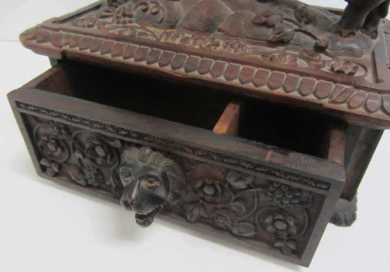Antique Black Forest rosewood carved jewelry box - 2