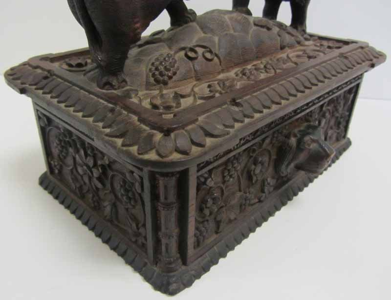 Antique Black Forest rosewood carved jewelry box - 3