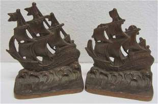 Pr. 19th C. Bronze bookends of ships