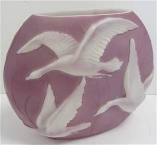 Rare 20th C. Phoenix glass vase with swans