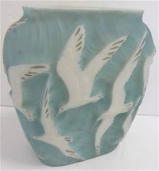 Rare Ea. 20th C. Phoenix glass vase with seagulls