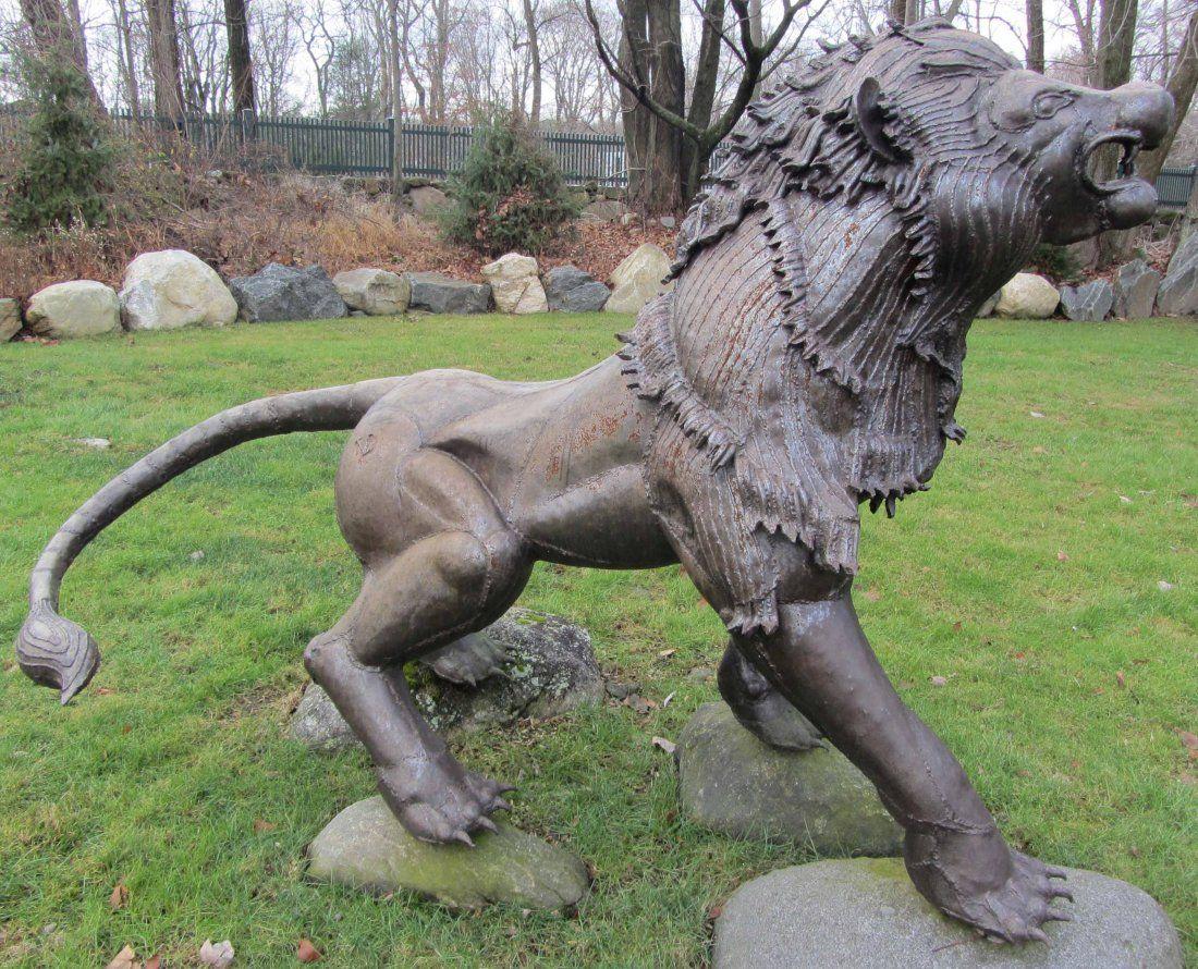 20th C. Peruvian iron outdoor statue of lion